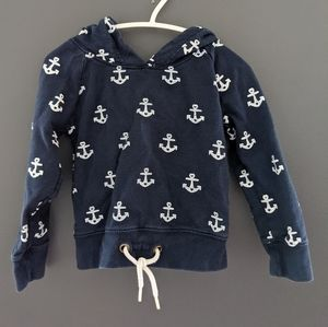 Blue hoodie with white anchor print